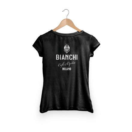 Bianchi Cafe & Cycles - T-Shirt Dama czarny