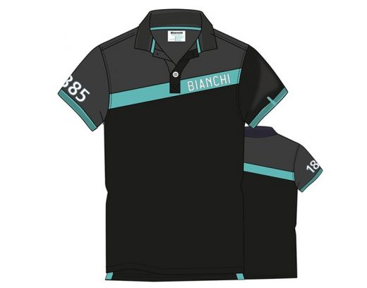 Bianchi Polo Celeste Stripe - Black/Grey