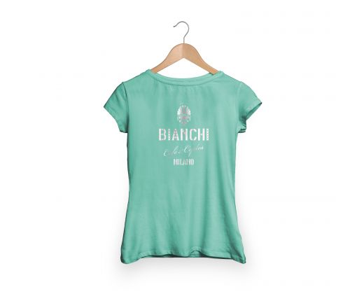 Bianchi Cafe & Cycles - T-Shirt Dama celeste
