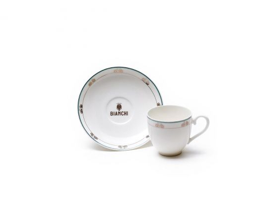 Bianchi Cafe & Cycles - zestaw filizanki do espresso ze spodkiem