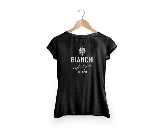 Bianchi Cafe & Cycles - T-Shirt Dama czarny