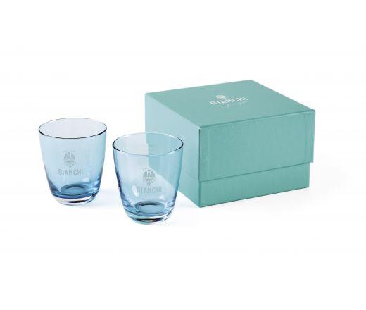 Bianchi Cafe & Cycles - niebieskie szklanki do wody