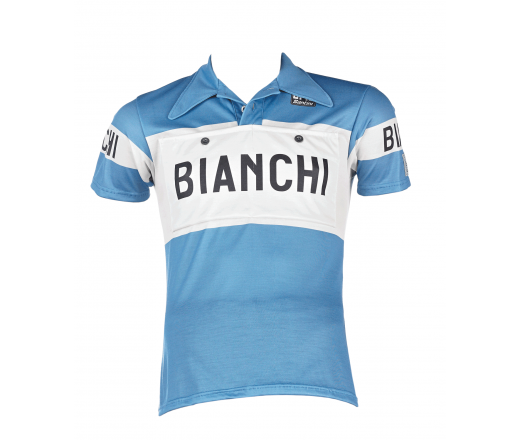 Bianchi L'Eroica -Short Sleeve Jersey Merino - Gent - Clear Blue